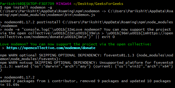 npm install nodemon -g global module install example